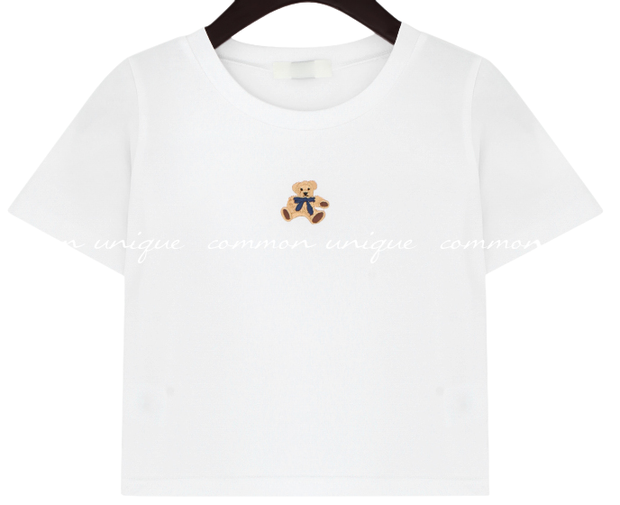 Bear Embroidery Cropped T-Shirt