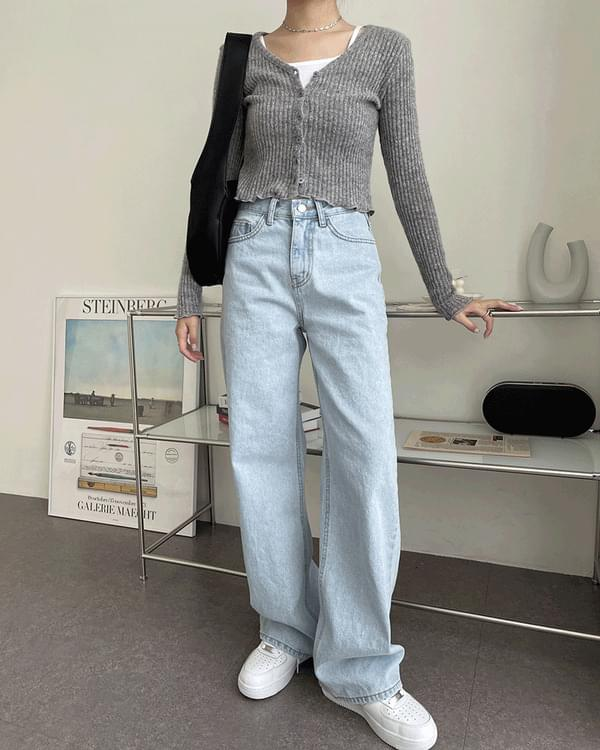 Claw Light Blue Long Wide Denim Pants