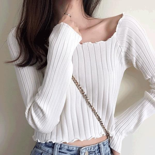 Wavy Square Puff Ribbed Crop Knitwear
