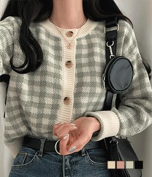 Jelly check cardigan