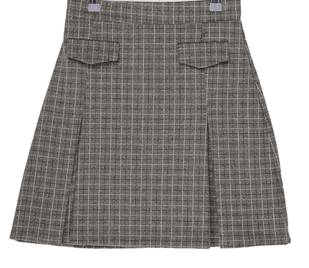 Checked pocket pleated mini skirt