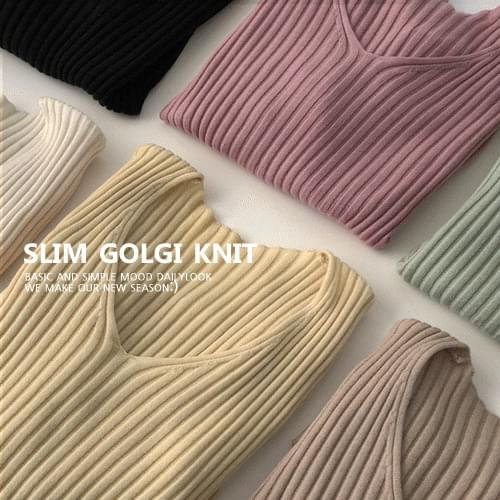 Special Price ♥ Let's Slim Ribbed V Knitwear