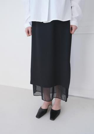see-through inner satin long skirt