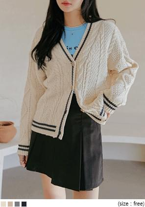 Stripe Accent Mix Knit Pattern Cardigan