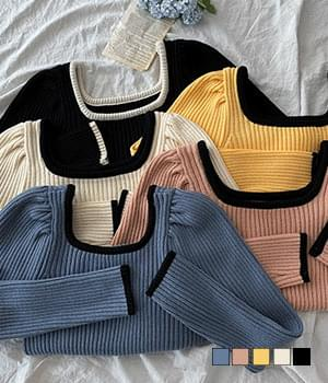 Roti Crop Color Ribbed Knitwear