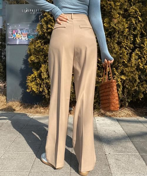 Two Pin Tuck High Waist Wide Long Slacks