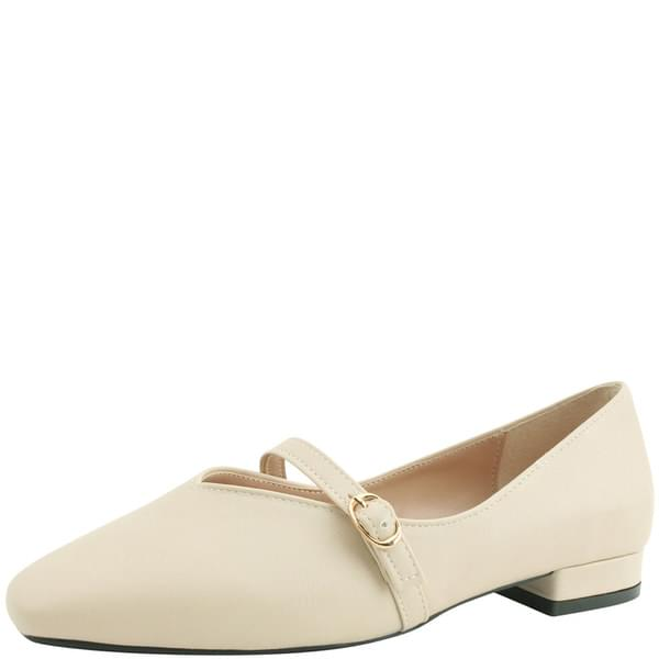 Square Nose Mary Jane Flat Shoes Beige