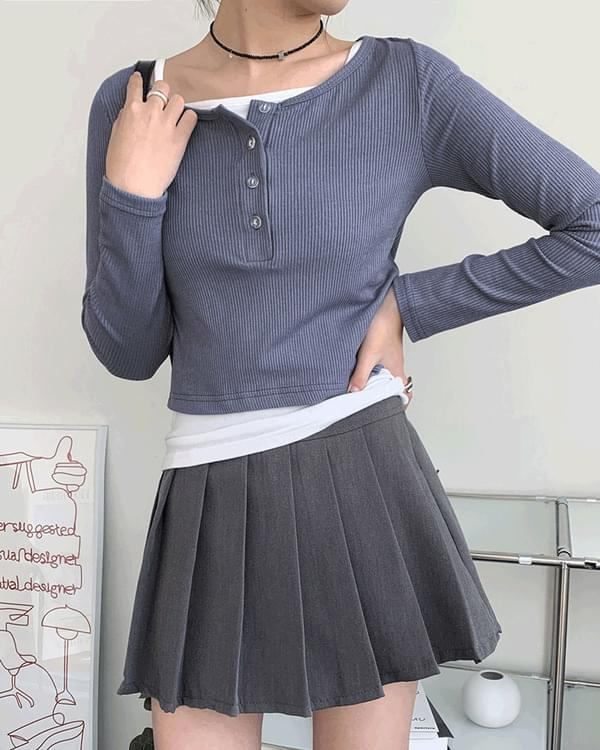 Dali button Ribbed cropped long-sleeved T-shirt