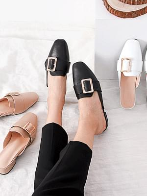 Big Buckle Low Heel Mule Blower Slippers 2 types 7001 & 7011 ♡46 sold out♡