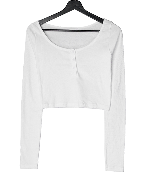 Pansy button cropped T-shirt