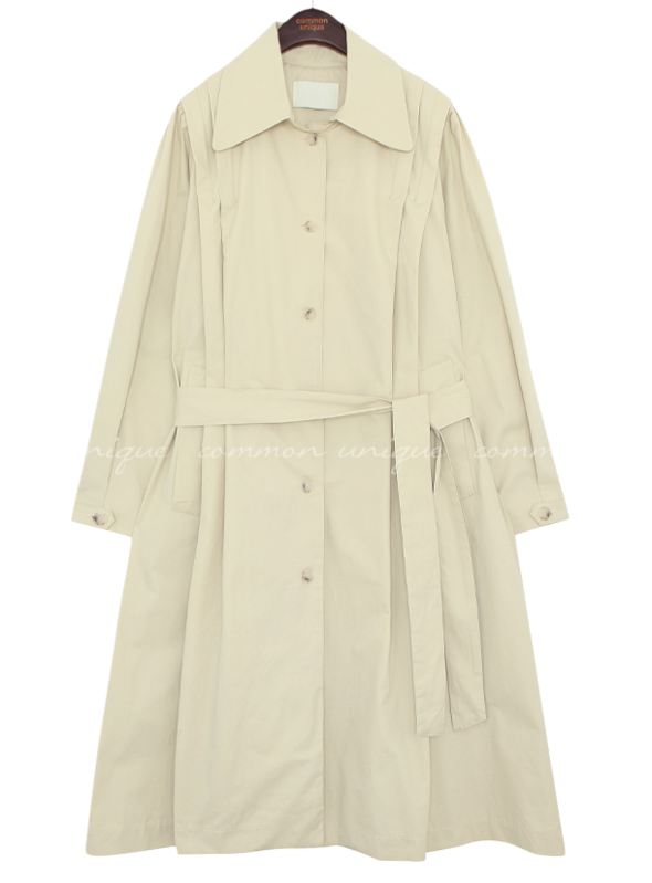 Pleat Accent Flared Trench Coat