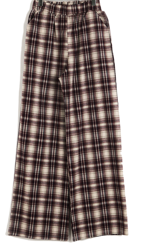 Bound Check Wide Banding Pants