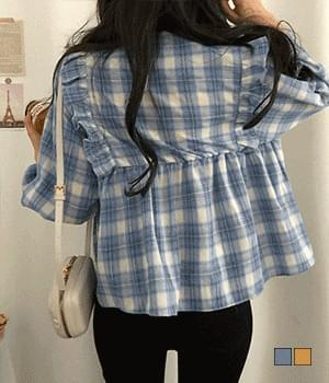 Peppermint Candy Check Ruffled Blouse