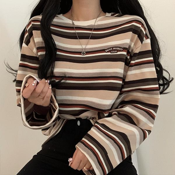 Patch Striped Long Sleeve T