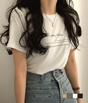Tencel short-sleeved T-shirt with flowing lettering