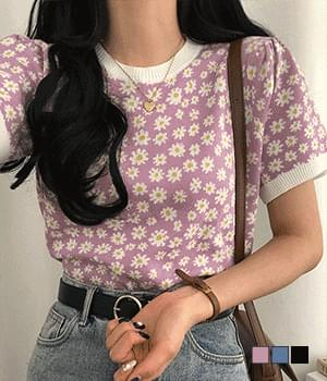 Daisy Flower Puff Short Sleeve Knitwear