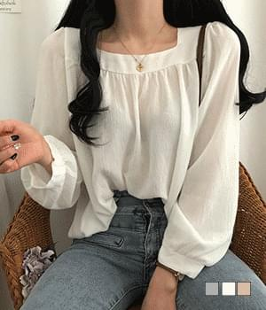 Organic square-neck Loose-fit blouse