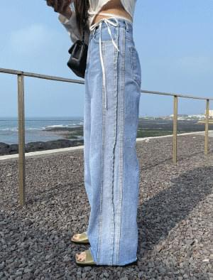 Flori cut wide denim pants