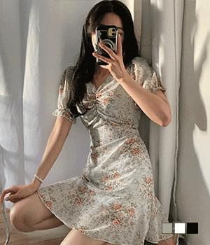 Shirring mini Dress dyed with rose flowers