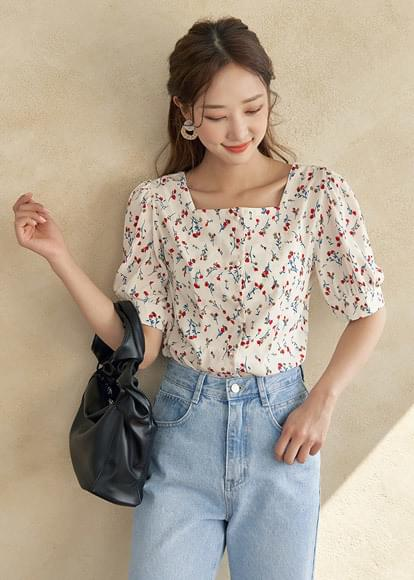 Sunflower square-neck blouse