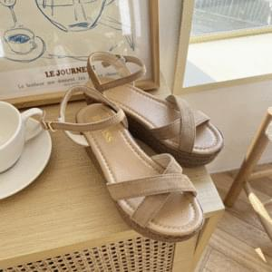 Wood Suede Wedge Heel Sandals 6cm