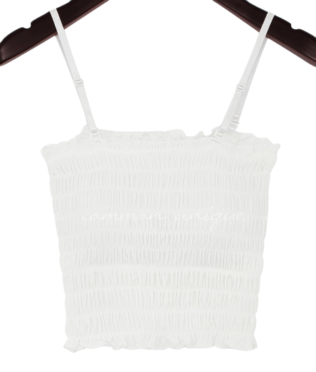 Shirred Cropped Sleeveless Top