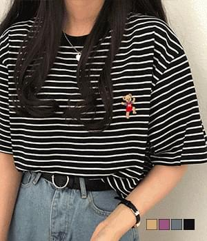 Exciting Bear Embroidered Striped T-Shirt