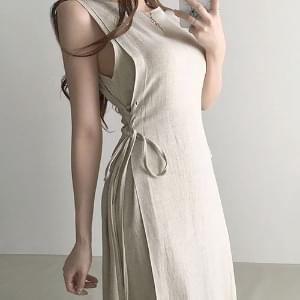 Thin Linen Corset Sleeveless Sleeveless Long Dress 2color