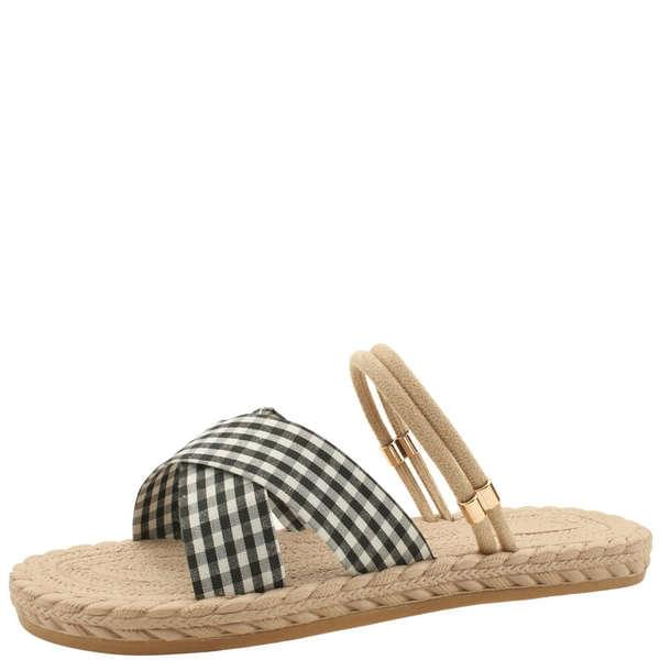 Gingham Gobang Check Mary Jane Slippers Black