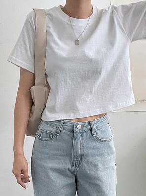 Pastel cropped short-sleeved tea