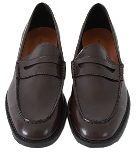 Glossy Wrinkle Penny Loafers