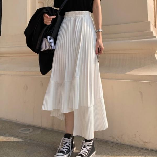 Hertz pleated A-line chiffon long skirt