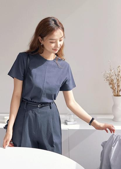 Stitch cropped short-sleeved T-shirt