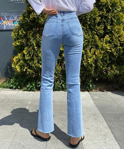 Cool Light Blue Spandex Flared jeans