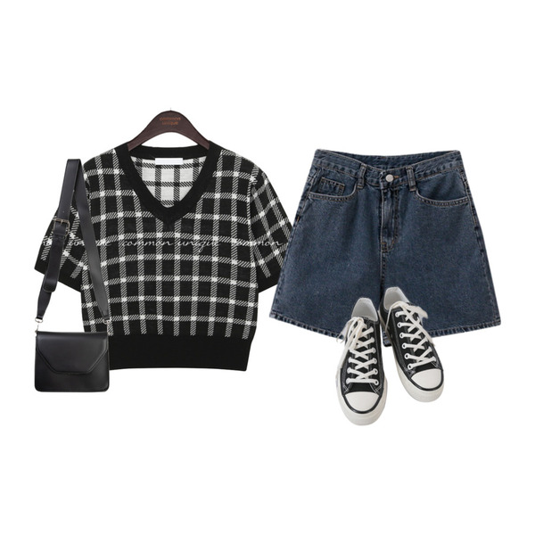 common unique MONT CHECK V NECK 1/2 KNIT,AFTERMONDAY basic casual color sneakers (10colors),somedayif 비비드 레터 스퀘어 숄더 백등을 매치한 코디