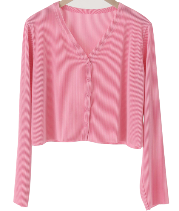 Pleated cropped cardigan