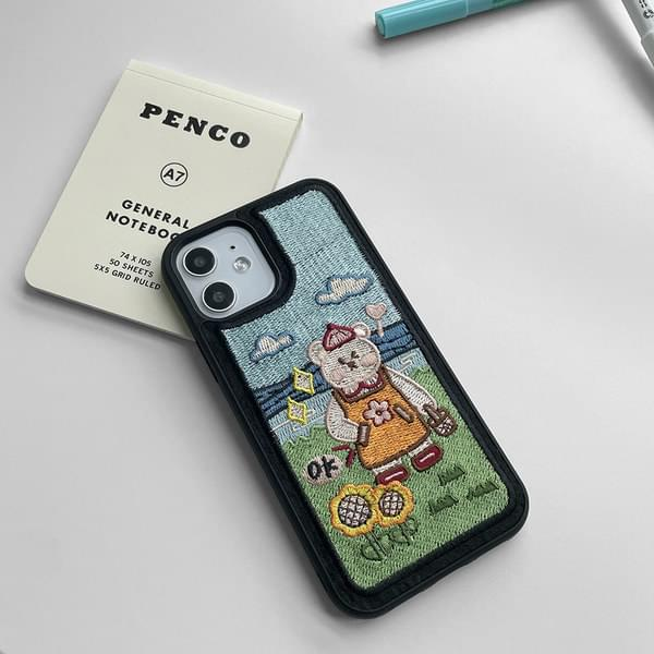 OK Picnic Bear Embroidered iPhone Case
