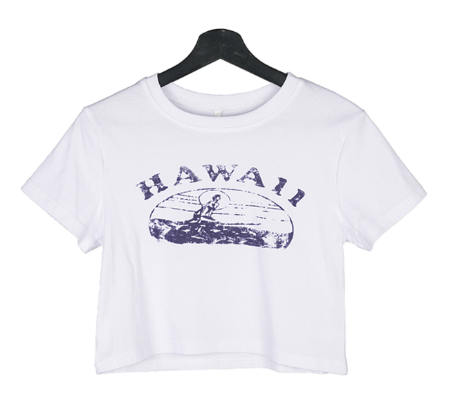 Hawaiian printed short-sleeved cropped T-shirt