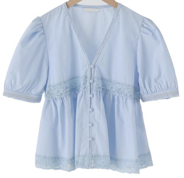 Lace Point Puff Blouse