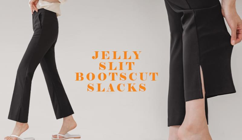 Jelly slit Flared slacks (S ~ XL size)