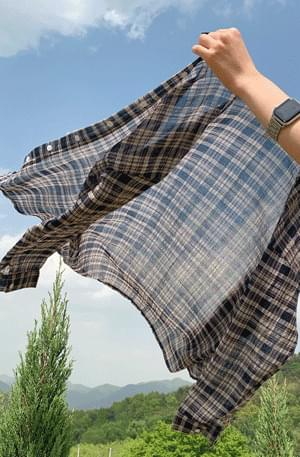 Neutral Summer Cotton Check Shirt