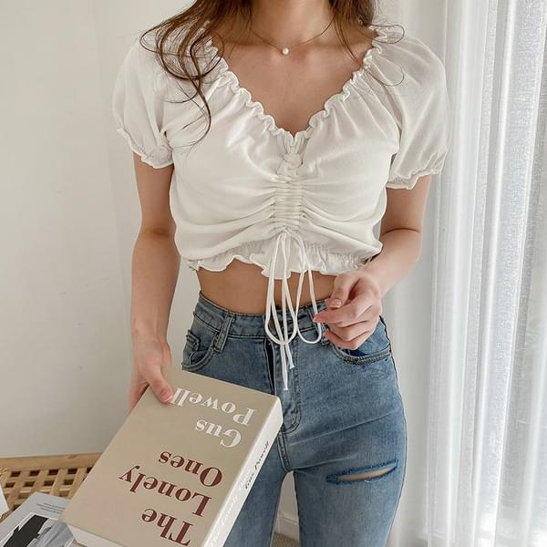 Cherry blossom off-shoulder cropped blouse