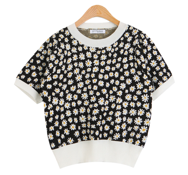 #Any place Benny Flower Short Sleeve Knitwear