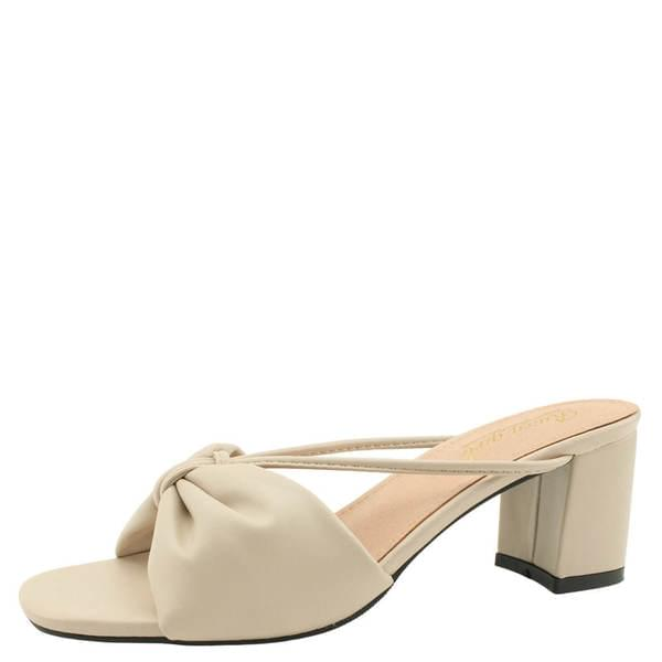 Ribbon Strap Middle Heel Mules Slippers Beige