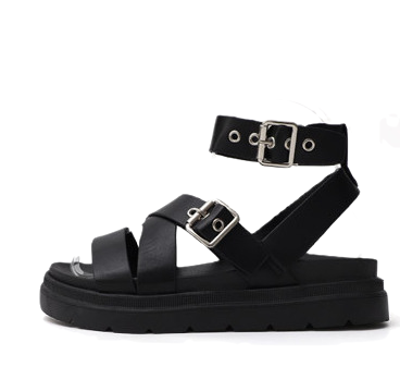 Glady Style Two Buckle X-shaped Strap Whole-Heeled Sandals 9130 ♡ 1st Sold Out♡