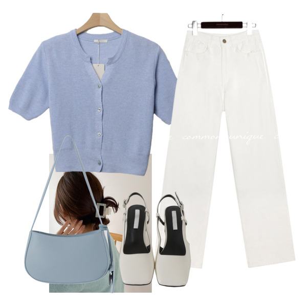 common unique MOROS WIDE COTTON PANTS,lavenir once hair pin,From Beginning 미니스퀘어 슬링백슈즈 (3color)등을 매치한 코디