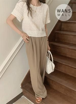 bl5077 Yui Pleated Puff Short Sleeve Blouse