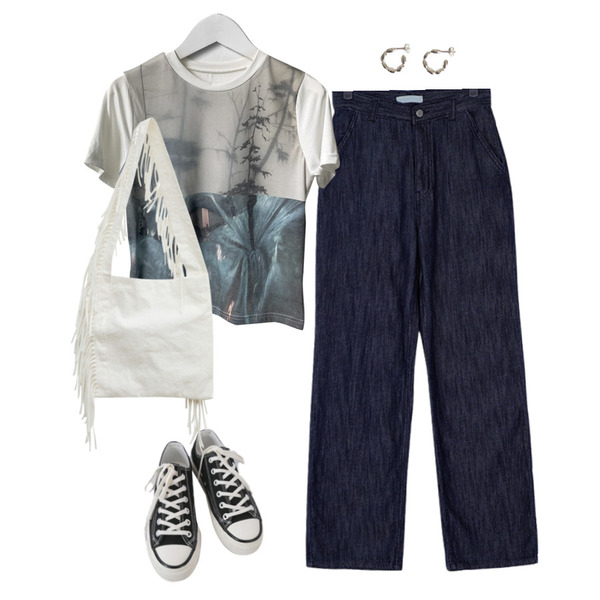 AFTERMONDAY basic casual color sneakers (10colors),lavenir (silver925) rice earring,somedayif 태슬 프린지 숄더 백등을 매치한 코디