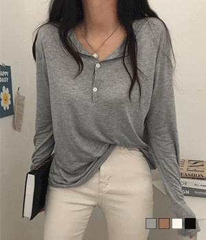 Single-piece two-button rayon long-sleeved T-shirt