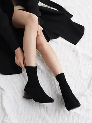 Tight suede middle heel tsumi heel ankle Socks boots 1872